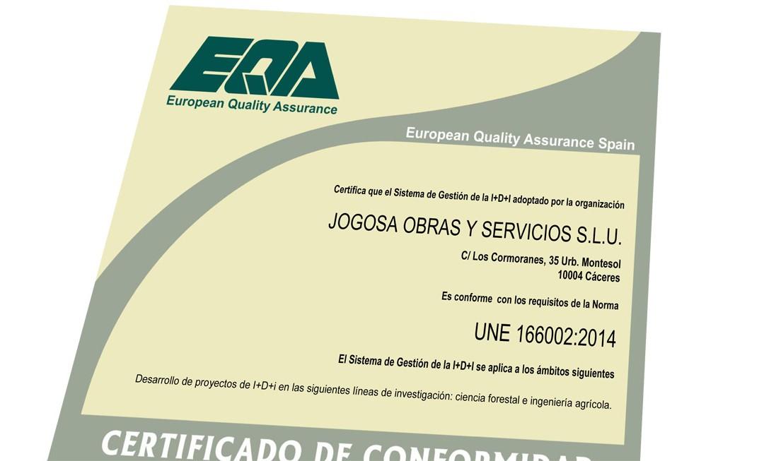 Jogosa recibe su certificado I+D+I